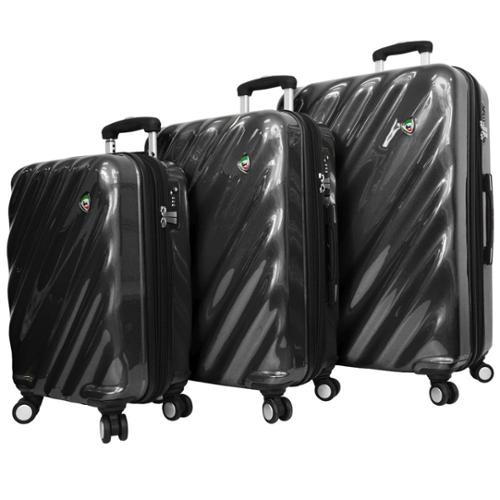 Mia Toro ITALY Onda Fusion Lightweight Hardside 3-piece Spinner Luggage Set Black