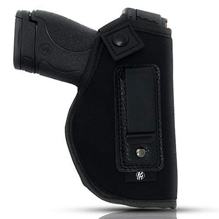 IWB Gun Holster By PH - Concealed Carry Soft Material | Soft Interior | Fits MP Shield 9mm.40.45 Auto/ GLOCK 26 27 29 30 33 42 43/ Ruger LC9, LC380 | Taurus Slim Line, PT111 | Springfield (Best Appendix Carry Holster)