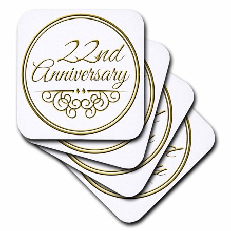 3dRose 22nd Anniversary gift - gold text for celebrating wedding anniversaries - 22 years married together, Soft Coasters, set of 4 ()