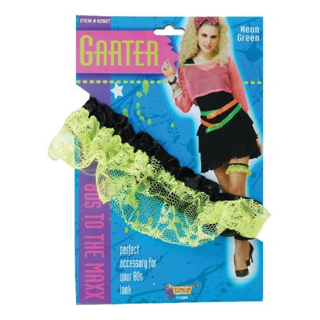 Neon Pink Green 1980's Fun Party Lace Garter Band Slip Fancy Costume (Children's 1980s Costumes)
