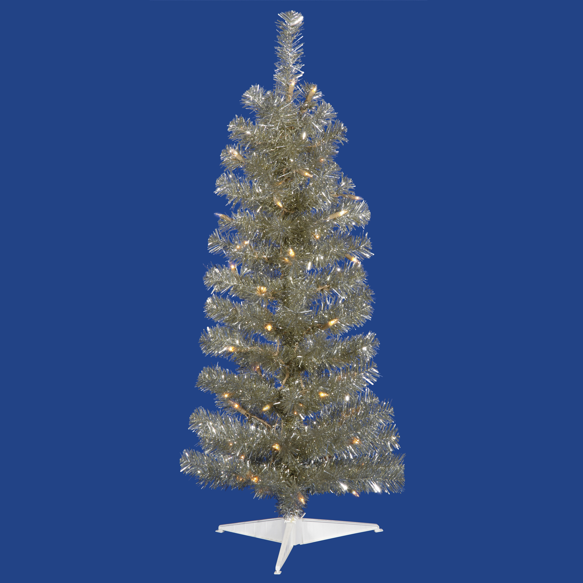"Vickerman Artificial Christmas Tree 2' x 11"" Champagne Pencil Dura-lit LED 35 Warm White Lights"
