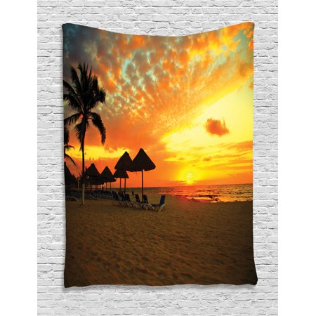 Seaside Decor Wall Hanging Tapestry, Sunset Scene At Beach Resort Silhouette Romantic Honeymoon Vacation Photo Print, Bedroom Living Room Dorm Accessories, By Ambesonne Scene Wall Tapestry