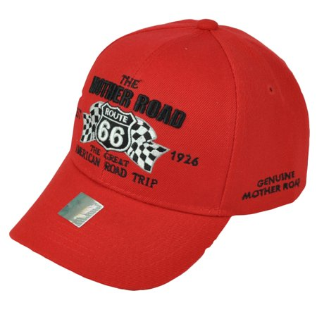 Route 66 Hot Rod - The Mother Road Route 66 American First Red Adjustable Hat Cap Historic Est 1926
