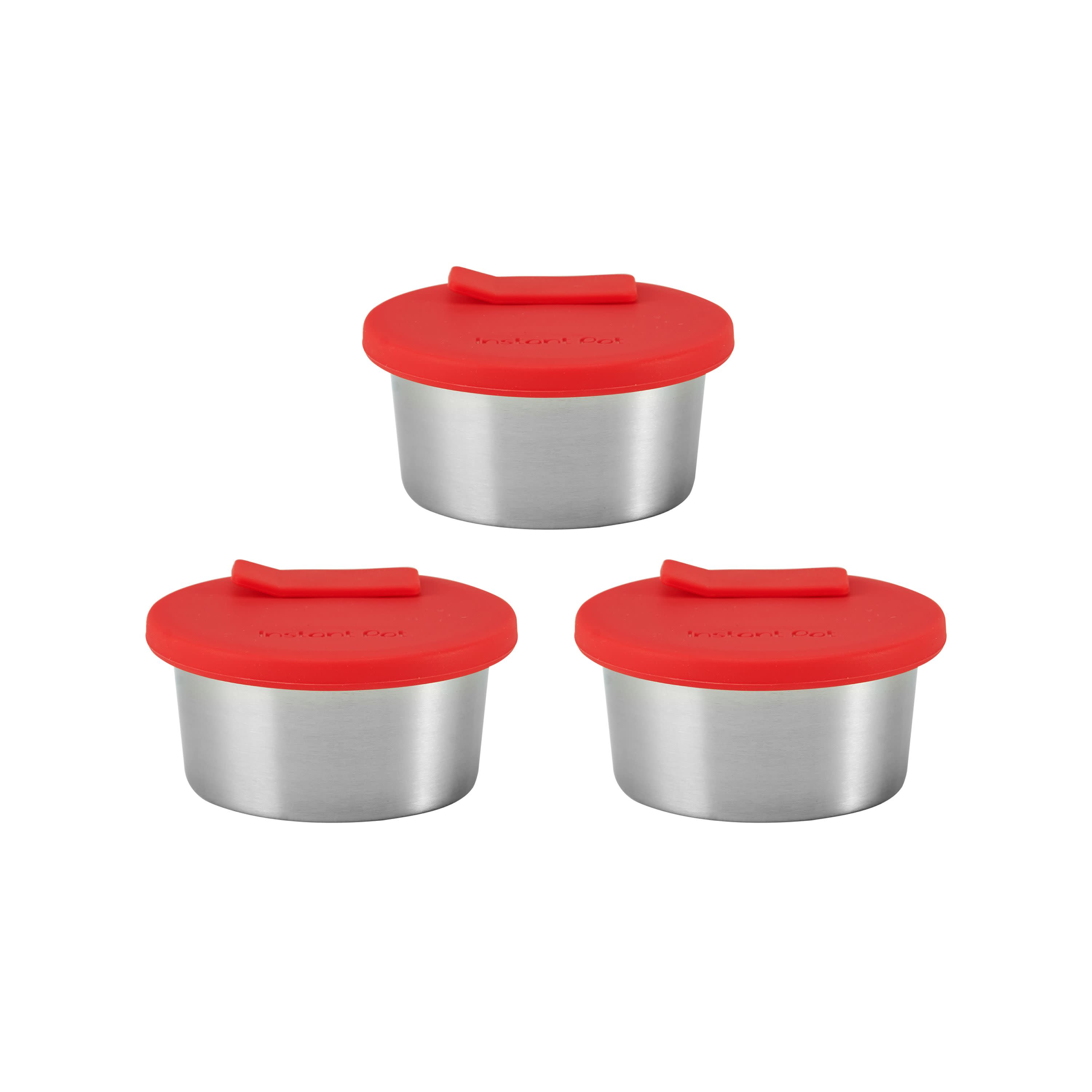 Red Instant Pot 5252093 Official Stainless Steel Baking Cups with Set of 3