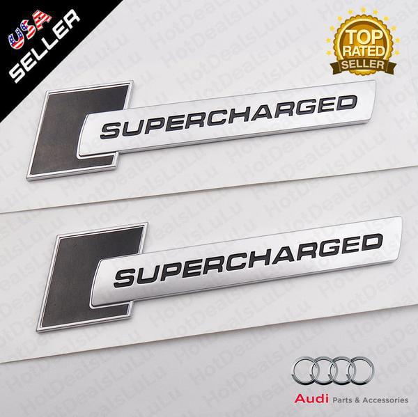Audi ABS Black SUPERCHARGED Nameplate Side Fender Marker Logo Emblem Badge Decoration Left & Right by
