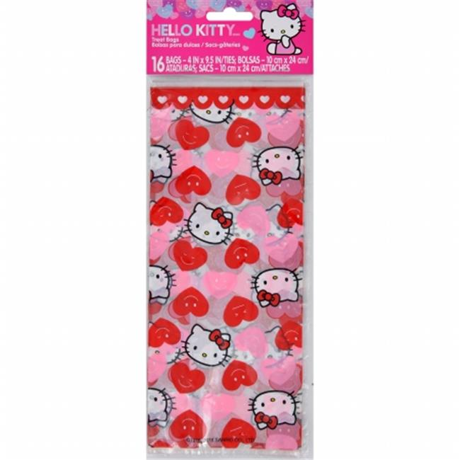 W7620 Treat Bags - 4 x 9. 5 inch, Hello Kitty