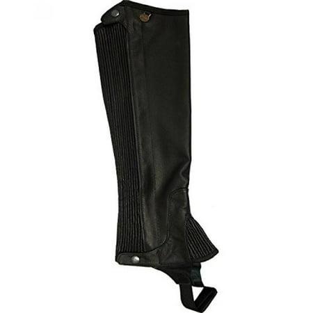 Ovation Boys' Pro Top Grain Leather Half Chaps Black US (Ovation Stirrup Leathers)