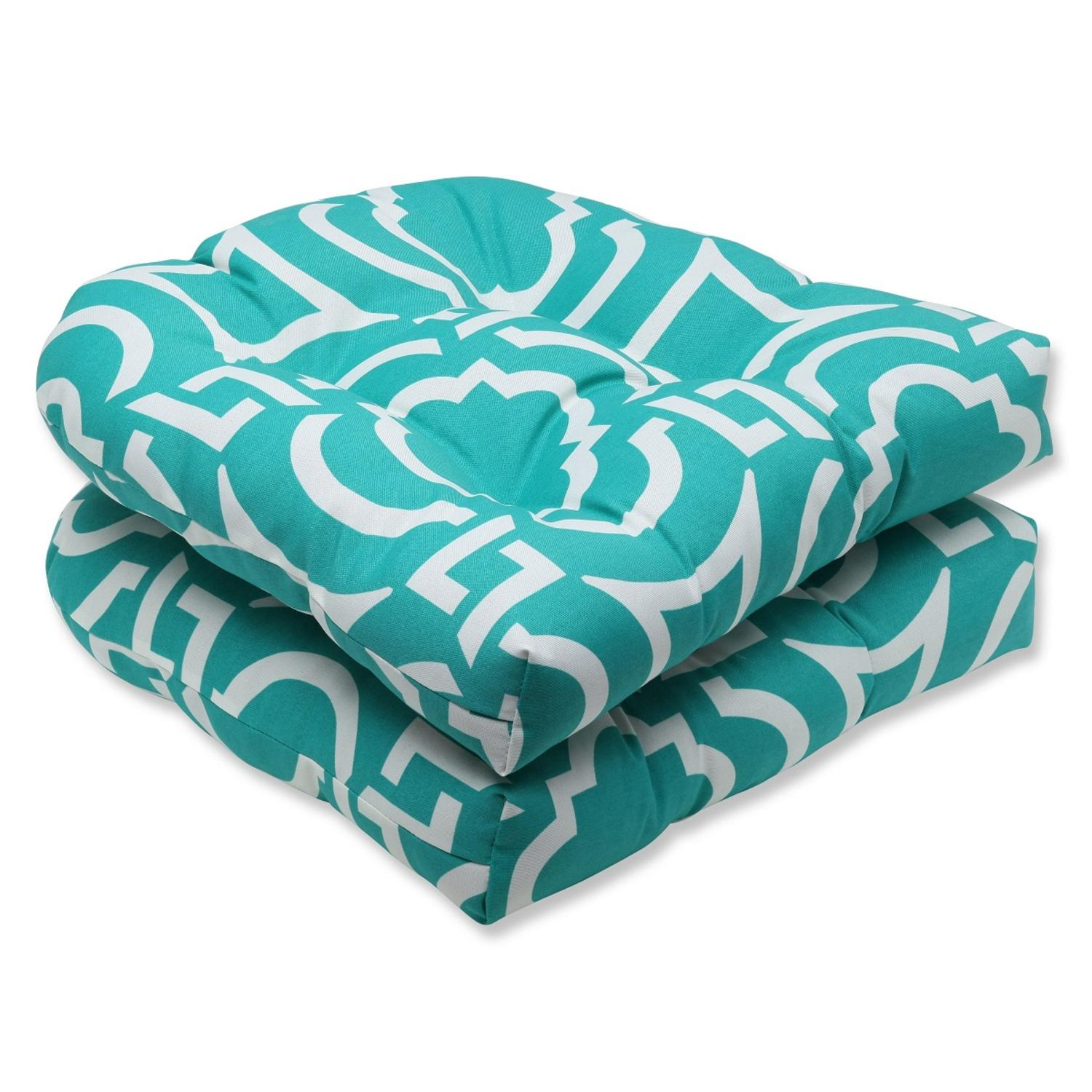 """Set of 2 Laberintos Aqua Blue and White Outdoor Patio Tufted Wicker Chair Cushions 19"""""""