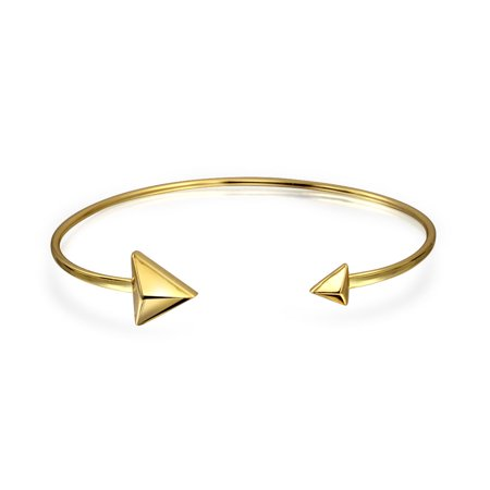 Thin Pyramids Arrow Tips Bangle Cuff Bracelet For Women For Teen Polished 14K Gold Plated 925 Sterling Silver