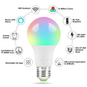 Smart Light Bulb, Wifi Light Bulb Color Changing LED Bluetooth Light Bulbs APP Remote Controlled Home Lamp Compatible with Alexa Google Home Assistant