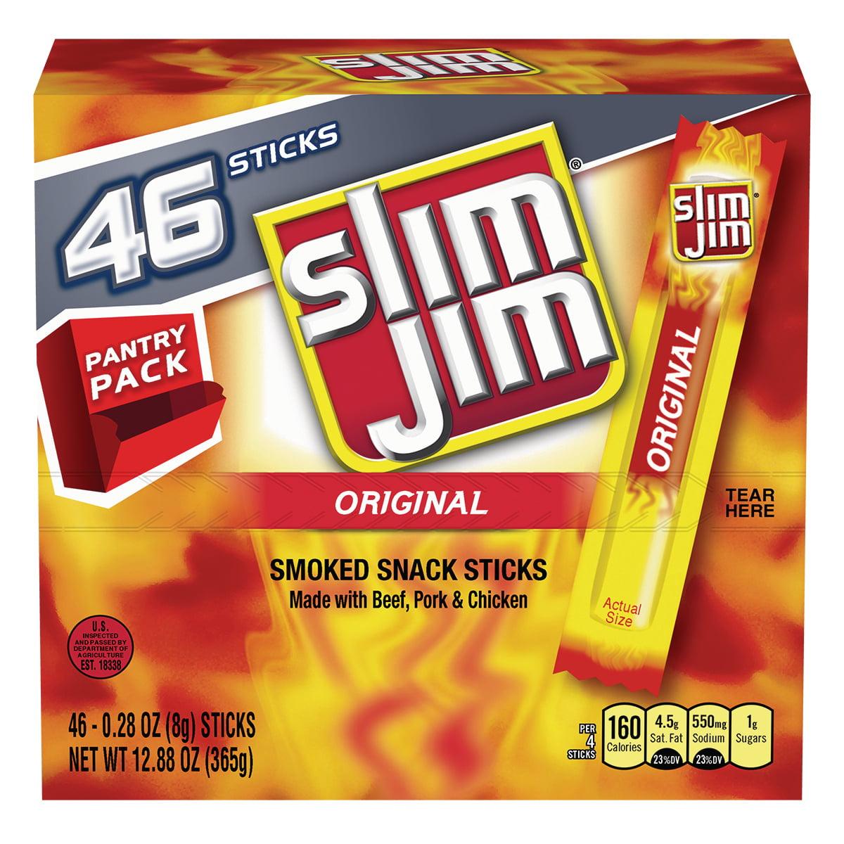 Slim Jim Original Smoked Snack Sticks Pantry Pack, 0.28 Oz., 46 Count