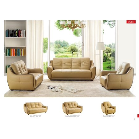 ESF-2088 Contemporary Beige Italian Leather Sofa Living Room Set 3Pcs