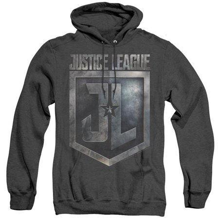 Justice League Movie & Shield Logo-Adult Heather Hoodie, Black - Large