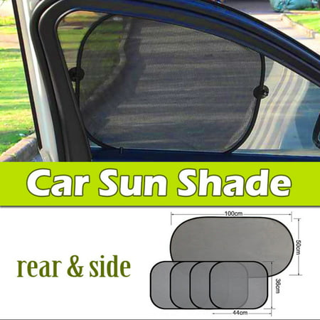 Rear Windshield (Car Sun Shade (5 Pcs of Set),iClover Folding Baby Sun Shades Protector for Side and Rear Window with Suction Cups Windshield Sunshade Blocks over 98% UV Rays - Easy to)