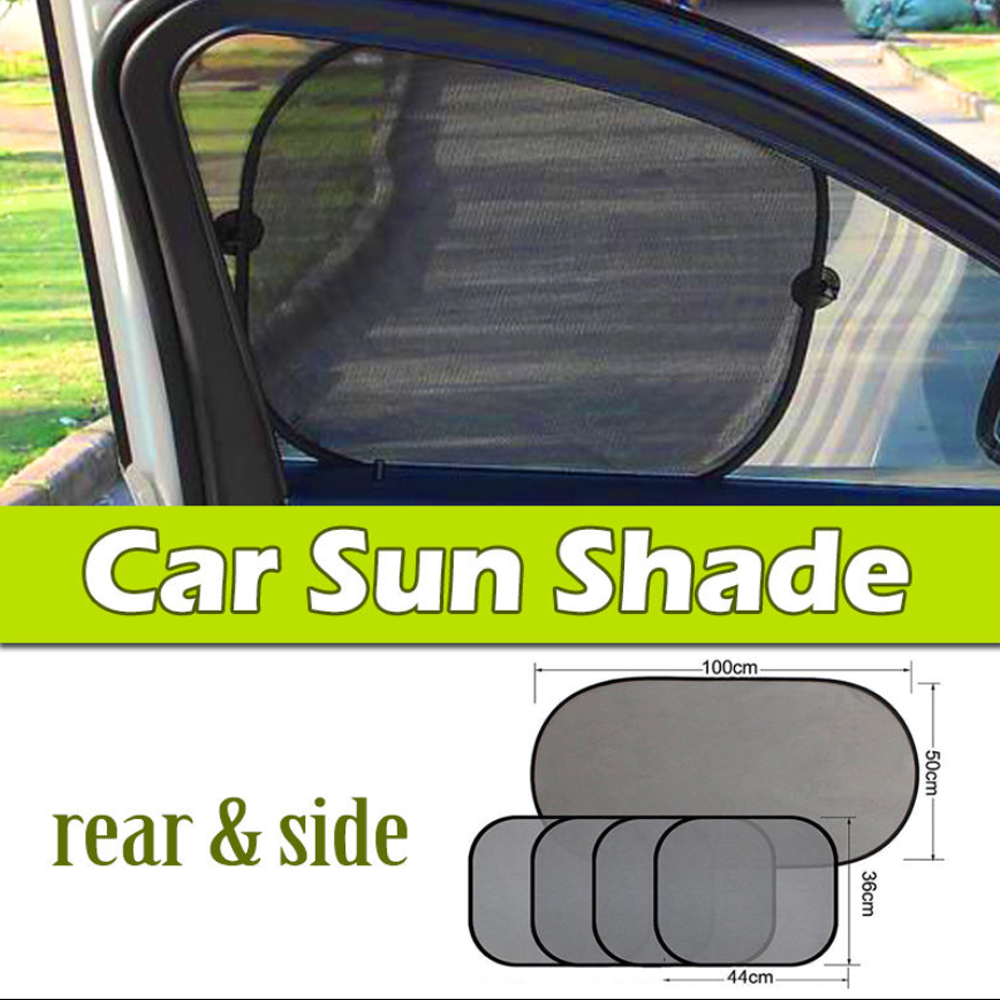 Car Sun Shade (5 Pcs of Set),iClover Folding Baby Sun Shades Protector for Side and Rear Window with Suction Cups Windshield Sunshade Blocks over 98% UV Rays - Easy to Install