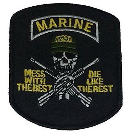 USMC MARINES MESS WITH THE BEST DIE LIKE THE REST SKULL CROSSED RIFLES