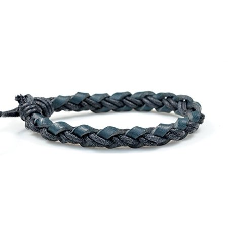 Fashion Jewelry Handmade geninue braided woven navy blue leather hemp adjustable bracelet women men L020