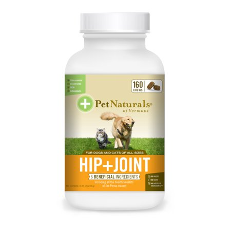 Pet Naturals of Vermont Hip + Joint, Daily Joint Supplement for Cats and Dogs, 160 Bite Sized (Best Over The Counter Pct Supplement)