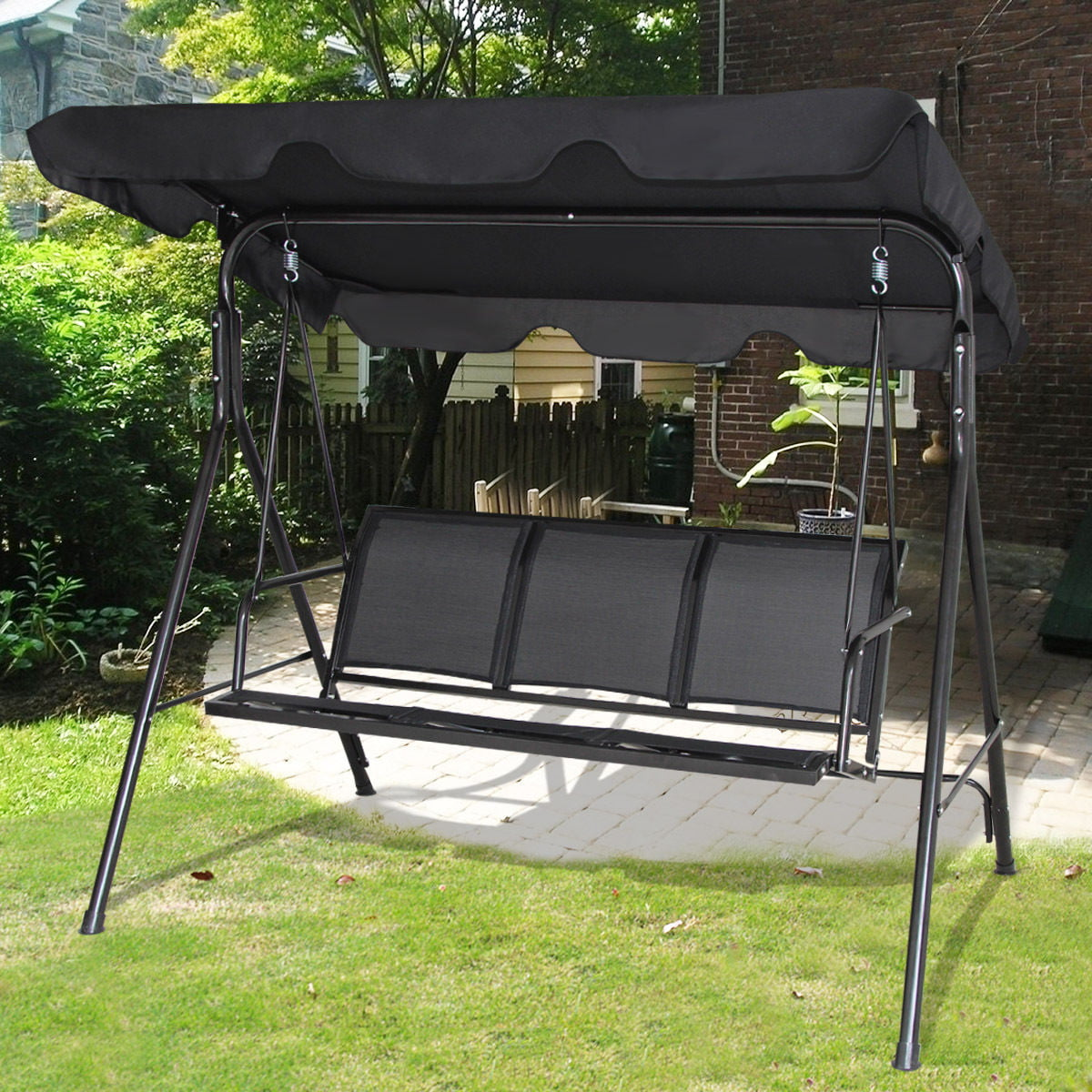 Gymax Black Outdoor Swing Canopy Patio Swing Chair 3 ...