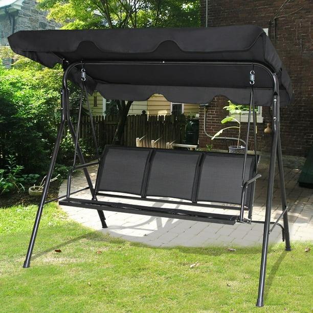 Gymax Black Outdoor Swing Canopy Patio Swing Chair 3 Person Canopy Hammock Walmart Com Walmart Com