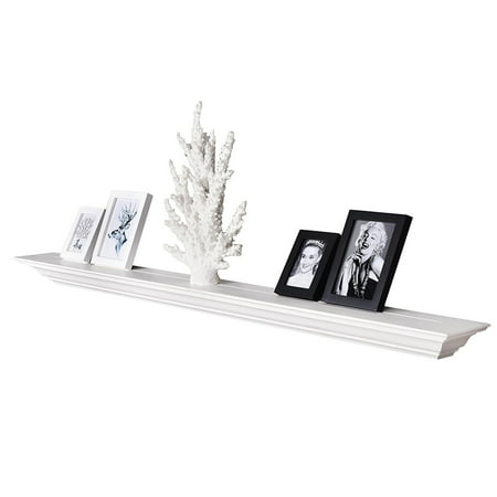 Welland 60 Corona Crown Molding Floating Wall Shelf White