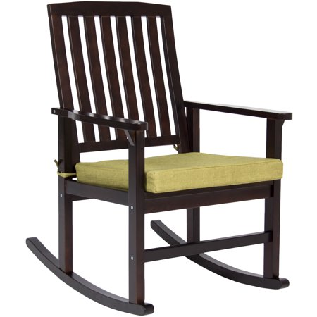 Best Choice Products Indoor Outdoor Home Furniture Wooden Patio Rocking Chair Porch Rocker Set Glider Furniture w/ Seat Cushion - Brown/Green