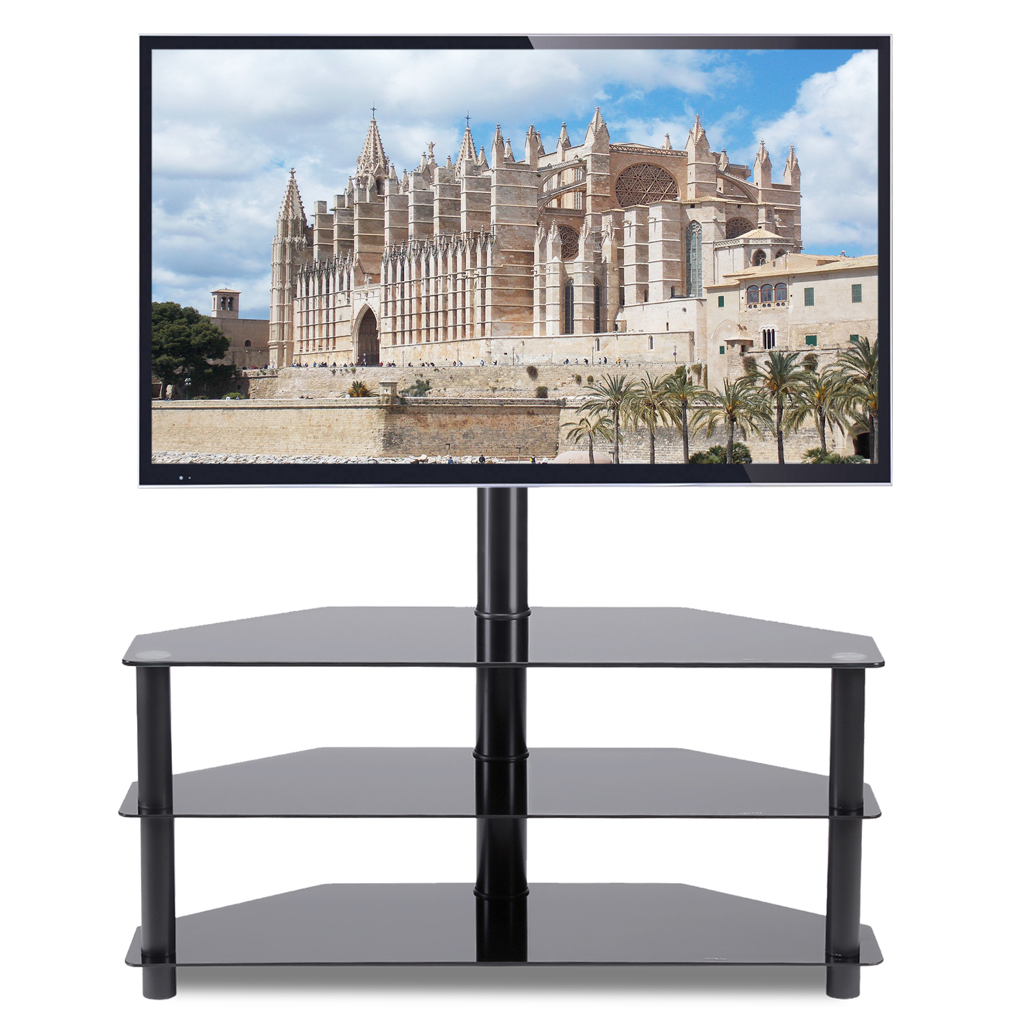Black Corner Floor Tv Stand With Swivel Mount Bracket For For 32 37