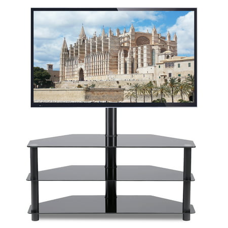 5Rcom Black Corner Floor TV Stand with Swivel M5Rcom unt Bracket for for 32 37 42 47 50 55 60 65 inch TVs, 3-Tier Tempered Glass Shelves for Audio Video -