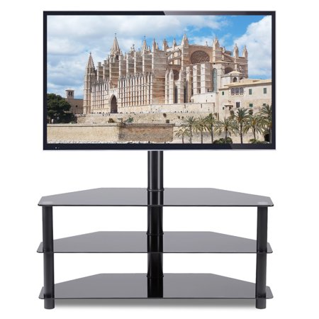 5Rcom Black Corner Floor TV Stand with Swivel M5Rcom unt Bracket for for 32 37 42 47 50 55 60 65 inch TVs, 3-Tier Tempered Glass Shelves for Audio Video TW2002-A