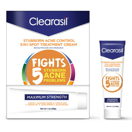 Clearasil Stubborn Acne Control 5in1 Spot Treatment Cream, 1oz