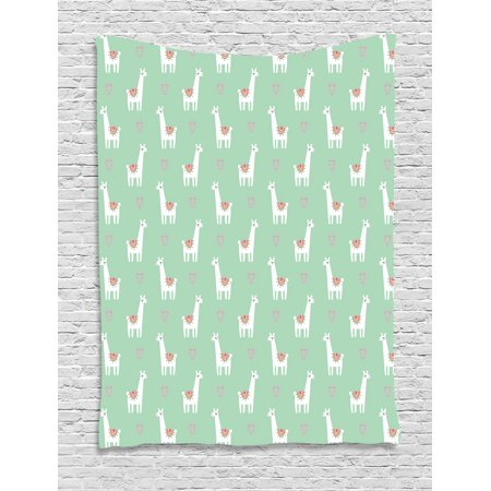 Llama Tapestry, Cute llama with Candy Cane Hearts Fun Pattern on Mint Green Background, Wall Hanging for Bedroom Living Room Dorm Decor, 40W X 60L Inches, Mint Green Multicolor, by Ambesonne