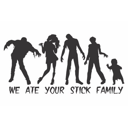 Zombie We Ate Your Stick Figure Family Decal Sticker   7.5-Inches By 3.7-Inches   Black Vinyl