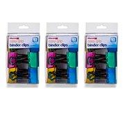 Officemate Easy Grip Medium Binder Clips, Assorted Metallic Colors, 12 Pack (31054), 3 Pack