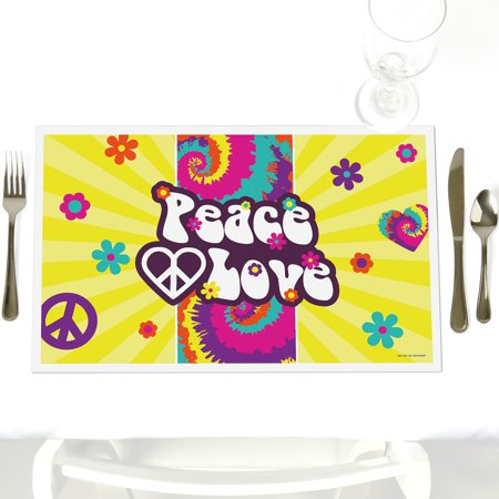 60's Hippie - Party Table Decorations - 1960s Groovy Party Placemats - Set of - 60's Decorations Ideas