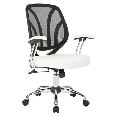 Screen Back Chair with Chrome Padded Arms and Dual Wheel Carpet Casters in White Faux