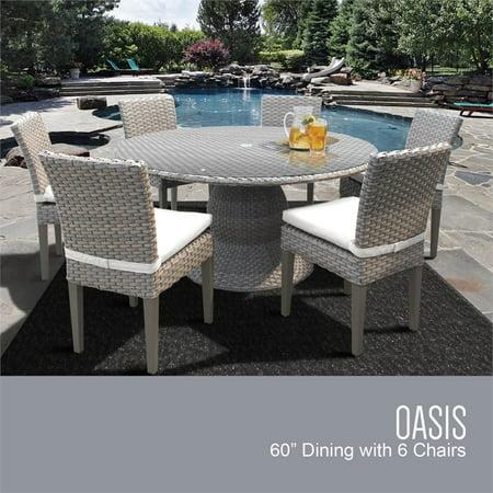 Awe Inspiring Tkc Oasis 7 Piece 60 Round Glass Top Patio Dining Set Dailytribune Chair Design For Home Dailytribuneorg