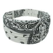 SANWOOD Ribbon, Bohemian Cashew Print Double-layered Elastic Women Wide Headband Hair Accessory