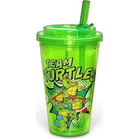 TMNT 16oz Plastic Flip Straw Cold Cup - Teenage Mutant Ninja Turtles Cups