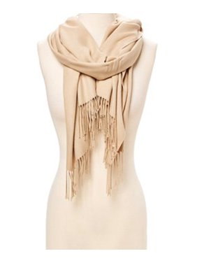 Rose Cloud Solid Scarfs for Women Fashion Warm Neck Womens Winter Scarves Casual Pashmina Silk Blend Scarf Wrap with Fringes for Ladies Girls by Oussum