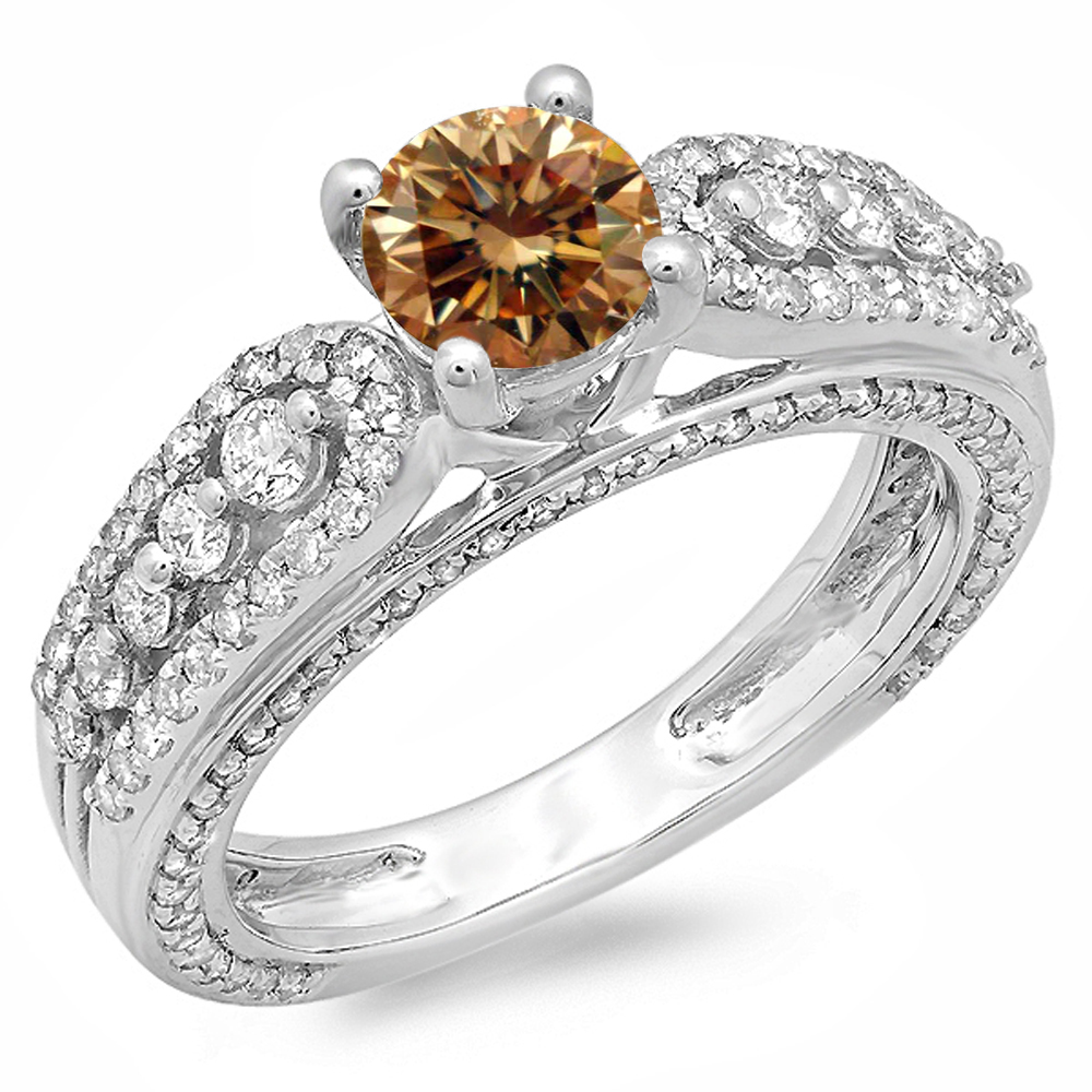 1.75 Carat (ctw) 18K White Gold Round Champagne & White Diamond Ladies Vintage Style Solitaire With Accents Bridal Engag