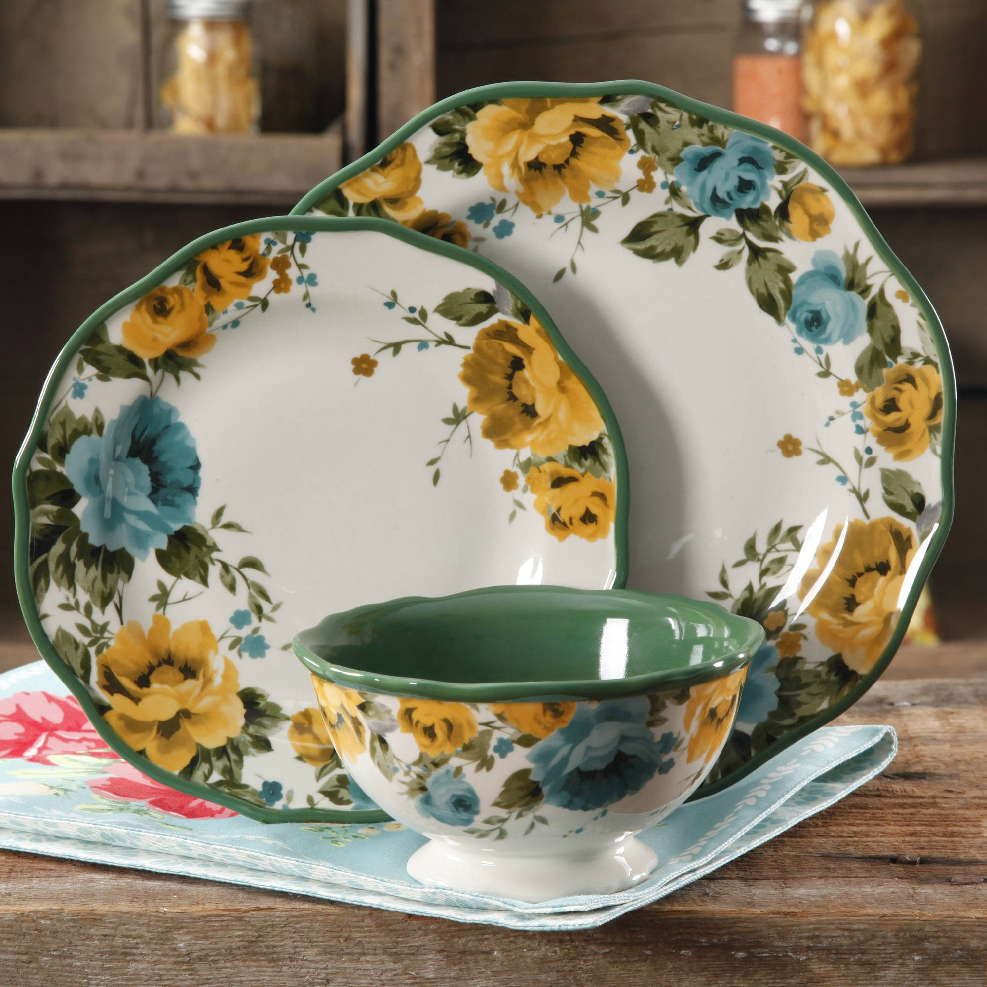 The Pioneer Woman Rose Shadow 12-Piece Dinnerware Set & The Pioneer Woman Rose Shadow 12-Piece Dinnerware Set - Walmart.com