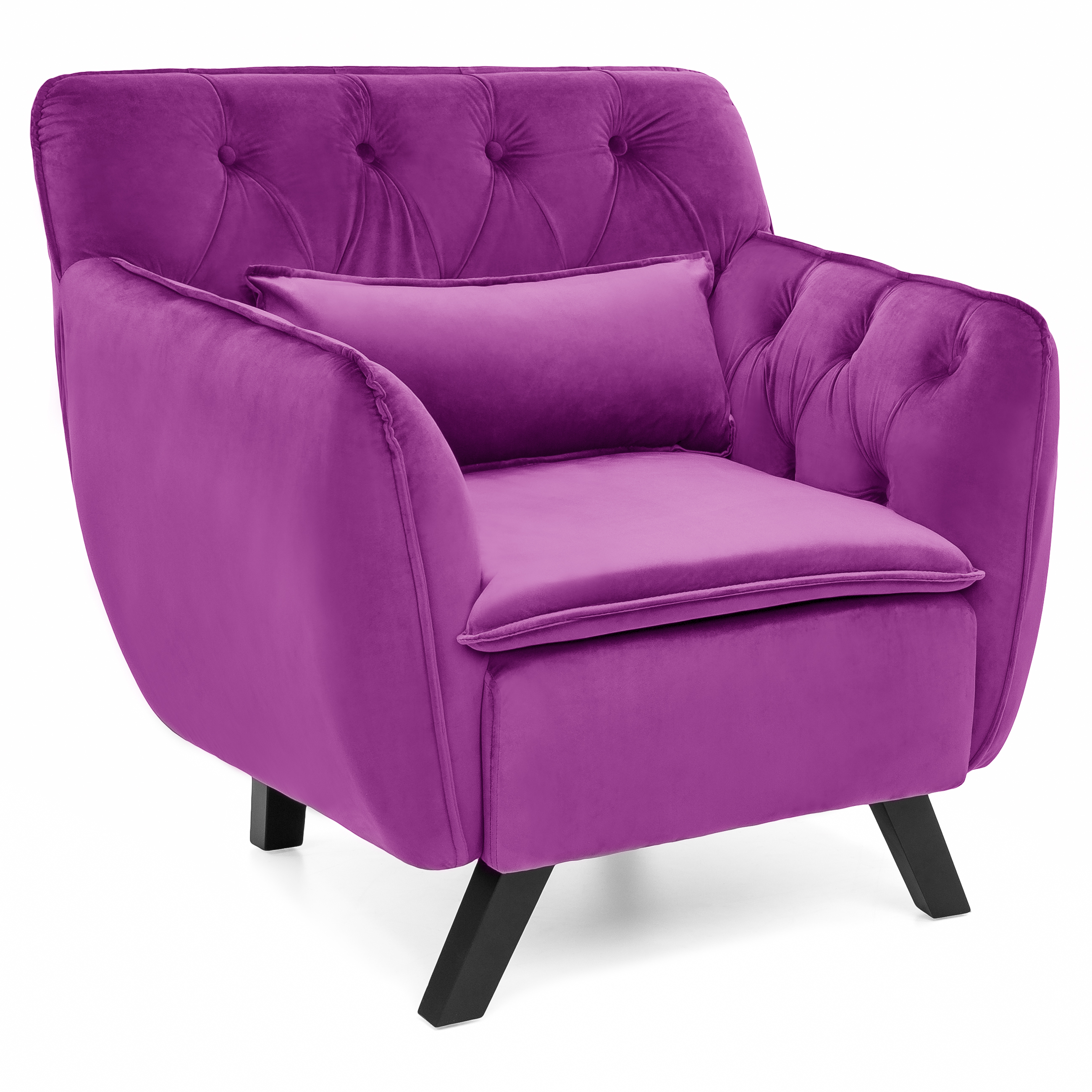 Best Choice Products Mid-Century Modern Tufted Microfiber Accent Chair w/ Removable Lumbar Pillow (Purple)
