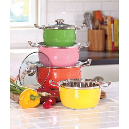 Colorful 8 pc stainless steel cookware set w vented glass for 8 pc kitchen set