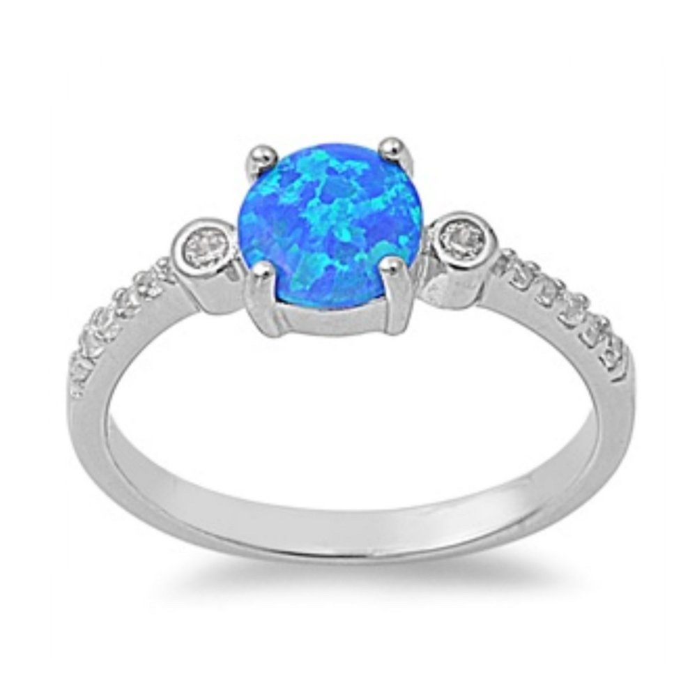 925 Sterling Silver Lab opal Gem Ring
