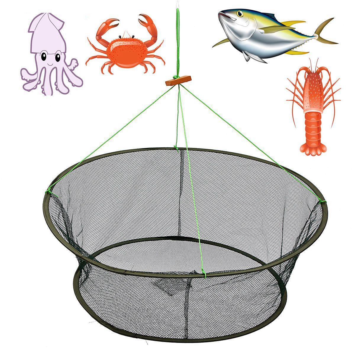 "1-Pack 61.5x85cm/24x33"" Large Foldable Fishing Net Bait Trap Cast Dip Net Cage Crab Fish Minnow Crawdad Shrimp"