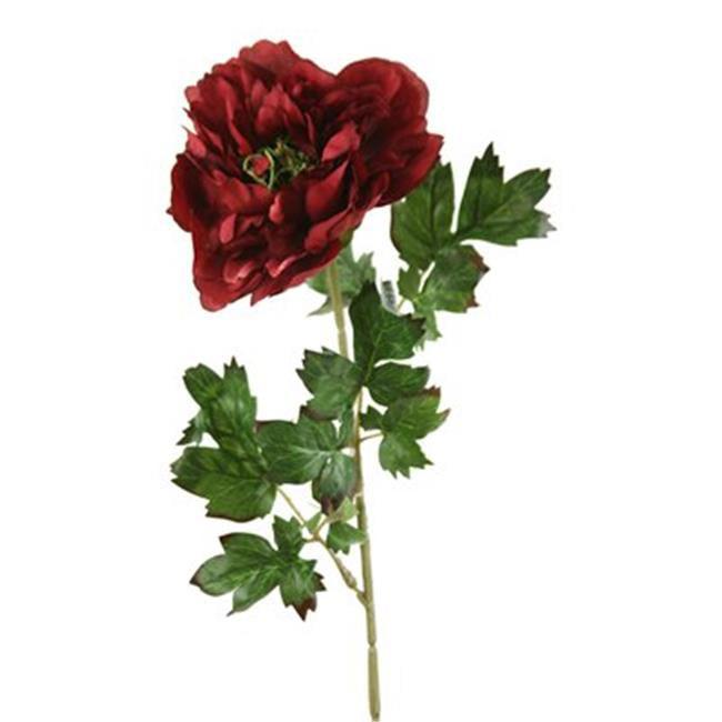 Distinctive Designs DP-840-BG DIY Flower Single Burgundy Peony Spray with 3 Leaves - Pack of 24