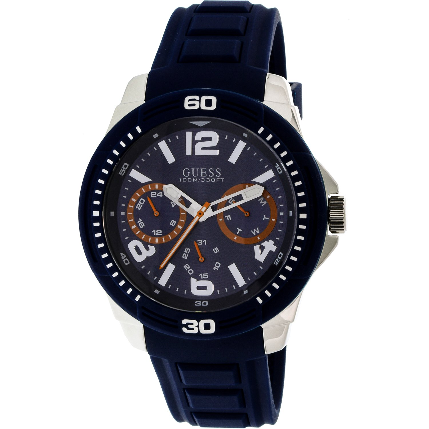 Guess Men's U0967G2 Blue Silicone Quartz Fashion Watch