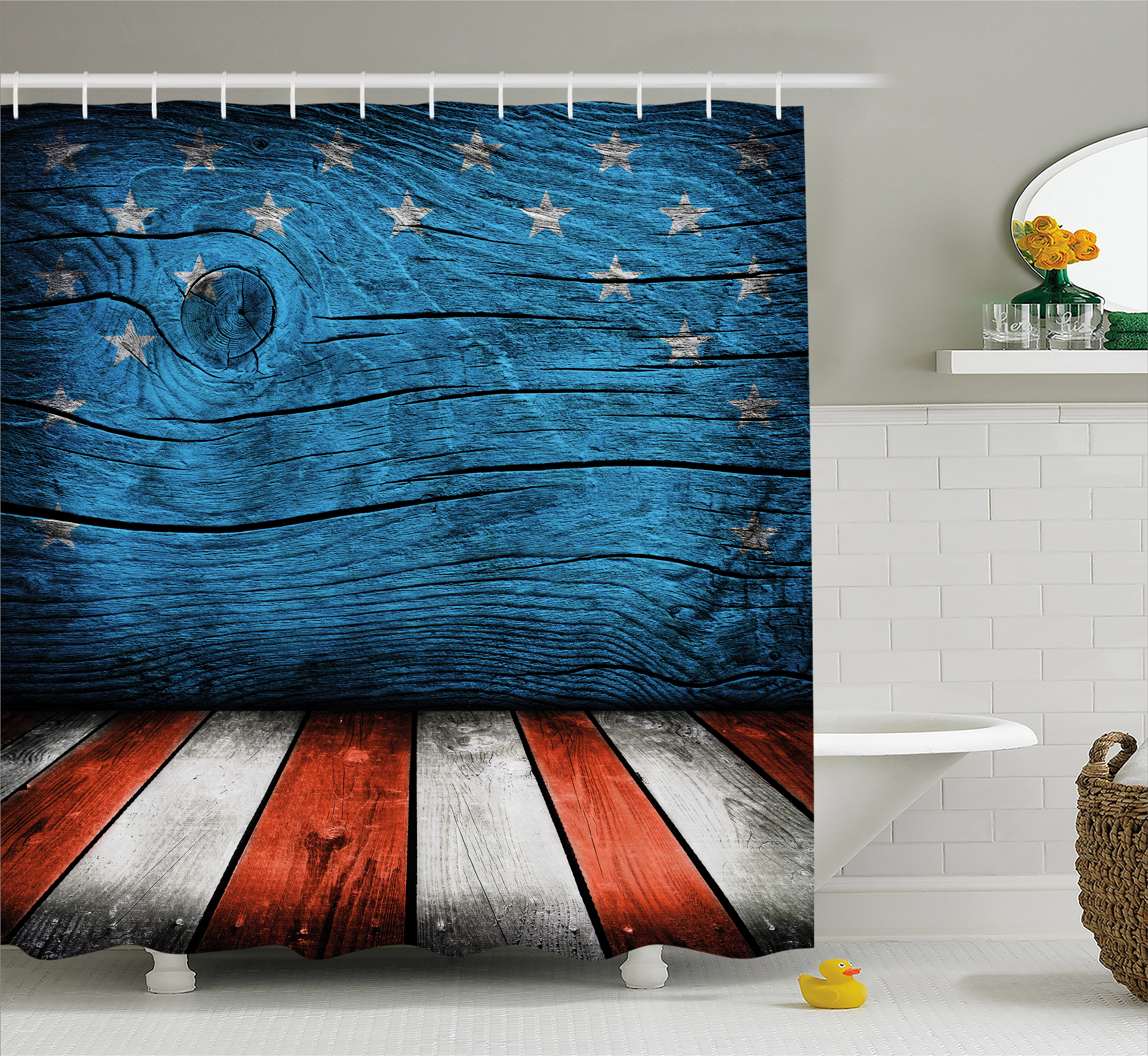 Primitive Country Decor Shower Curtain, Rustic Empty Wooden Interior with American Flag Design Print, Fabric Bathroom Set with Hooks, 69W X 70L Inches, Blue Red White, by Ambesonne