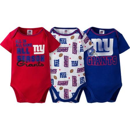 4b559406 NFL New York Giants Baby Boys Short Sleeve Bodysuit Set, 3-Pack