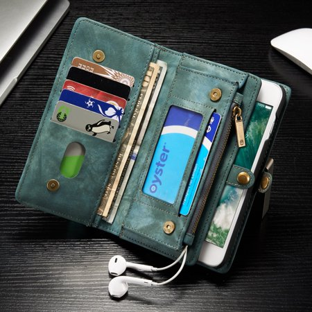 iPhone 8 Plus Wallet Case, iPhone 7 Plus Case, Dteck Multi-function 2 in 1 PU Leather Zipper 11 Card Slots Card Slots Money Pocket Clutch Wallet Case Detachable Magnetic Cover, Green ()